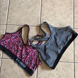 2 sports bra Nike and  Under Armour